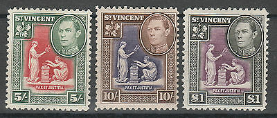 St Vincent 1938 Kgvi Badge 5/- 10/- And 1 Pound Top 3 Values