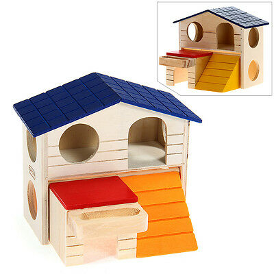 Wooden Bed House Cave Two-layer Villa for Small Animal Hamster Rat