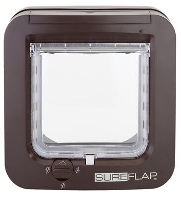 SureFlap Microchip Cat Flap Brown - Keep Out Foreign Pets, 4-Way Locking Genuine