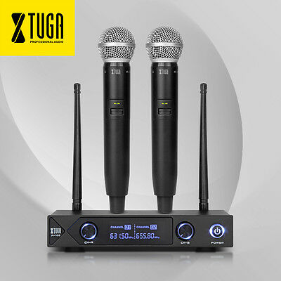 UHF Xtuga A100 2 channel DUAL WIRELESS MICROPHONE SYSTEM With Mute US Seller