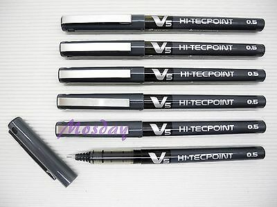 18pcs Pilot Hi-Tecpoint V5 Needle Tip 0.5mm Extra Fine Roller Ball Pen, BLACK