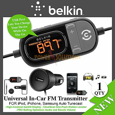 Belkin TuneCast Auto Universal Clearscan FM Transmitter Smartphones iPhone New