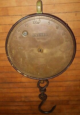 Antique Salter 100 Lb. Trade Spring Balance Scale Brass Cast Iron Hanging UK