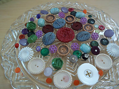 Vintage Assorted Button Lot Glass- Celluloid - Casein Plastic - Metal  and More!
