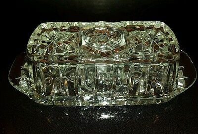"""EAPG  Anchor Hocking """"Star of David"""" Butter Dish Mint"""