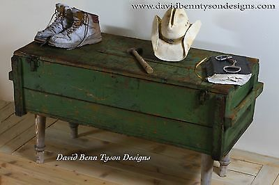 Authentic Green Russian Gun Crate Table 1900-1950 Wood and Metal