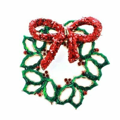 """Holiday Charter Club Brooch, Gold-Tone Green & Red Wreath Pin """"Christmas Pin"""""""