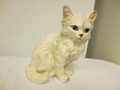 "Older Lefton Porcelain White Persian Cat 5 1/2"" Figurine #1514 - Blue Eyes,Matte"