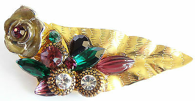 Vintage Brooch Scattered Flower w Rhinestones on Gold Tone Leaf Unusual VGC 104
