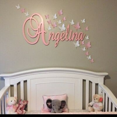 Large Elegant Script Name Painted Decorative Wooden Wall Connected Letters