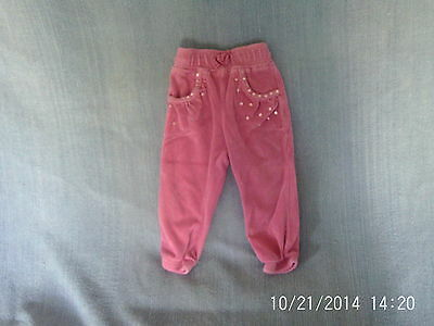 Baby Girls 9-12 months - Pink Velour Leisure Trousers with Sequins - Cherokee