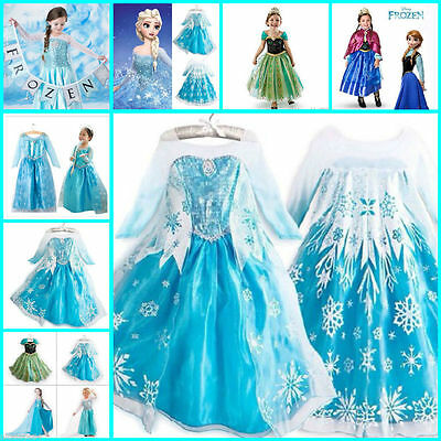 Princess Anna Elsa Queen Girls Cosplay Costume Party Formal Dress 2-8 ans