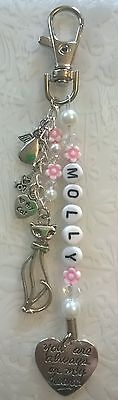 Cat loss~bag charm~personalised~memorial~keepsake~pet loss~i love my cat