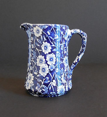VINTAGE CROWNFORD CHINA STAFFORDSHIRE BLUE CALICO  CREAM PITCHER BURLEIGH ENG.