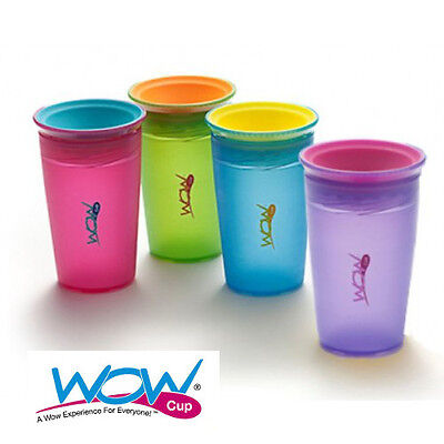 WOW Cup for Kids- 266ml- 360° drinking rim- Spill free cup - 4 NEW JUICY colours