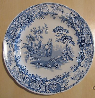 """Spode """"Blue Room Collection"""" - Girl at Well - 10 1/2"""" dinner plate  - Mint"""