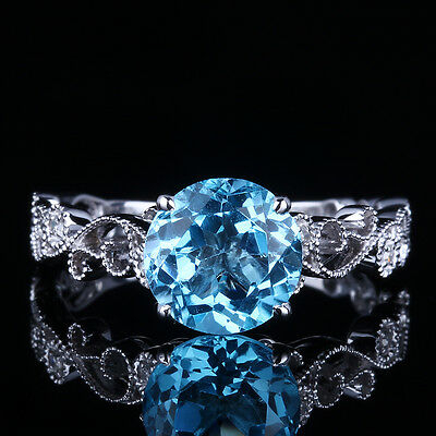 Solid 10K White Gold Flawless 2.5ct Swiss Blue Topaz Gem Engagement Women Ring