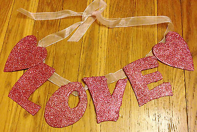 NEW Pink Glitter 'Love' Garland with Hearts - Valentines/Home Decor