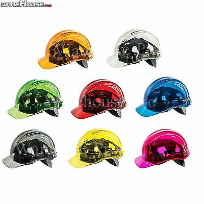 Clearview Hard Hat Vented Safety Helmet- Red/Blue/Green/Yellow/Smokey Or Orange