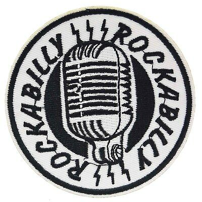 Rockabilly Microphone Iron On Patch Punk Retro Embroidered Cloth