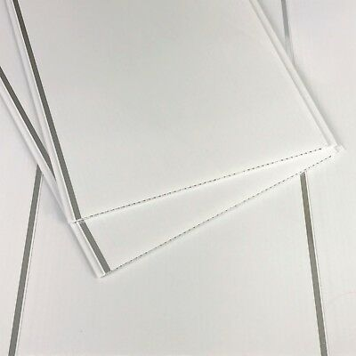 10 White With Chrome Inset Bathroom Cladding Panels PVC Ceiling Kitchen Wet Wall