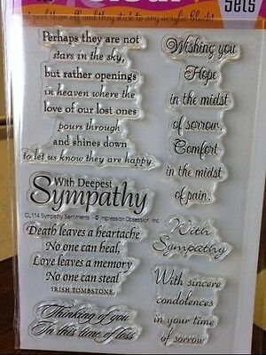clear acrylic stamps - SYMPATHY SENTIMENTS, Impression Obsession words