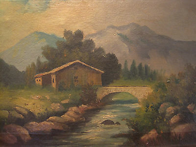 Nice 19th Century Oil On Canvas , Mountain Scene with River and Bridge