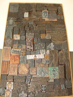 VINTAGE COLLECTION OF 150 HOLLY,OWL,GOLF,MUSICIAN,ETC. ON WOOD PRINTING BLOCKS