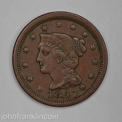 1847 1c Braided Hair Large Cent XF+ /K-320