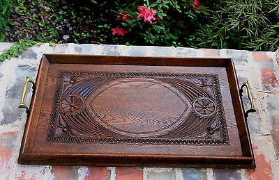 Antique English Carved Oak Large Table or Countertop Coffee Tea Serving Tray