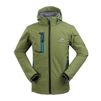 Hot Mens Soft Shell Waterproof Breathable Windproof Hood Outdoor Jacket Coats