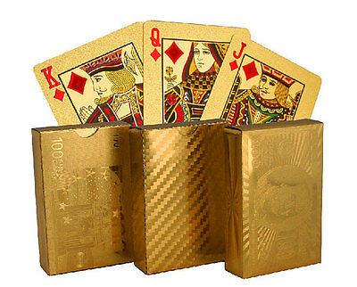 24K Gold Plated Playing Cards / Poker Deck w Gift Box & 99.9% Certificate