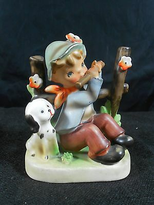 Vintage Erich Stauffer Hummel Like Boy Dog Ceramic Figurine 8349