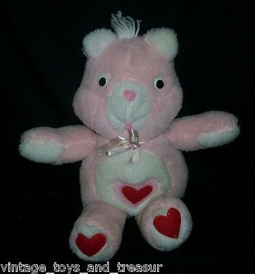 """16"""" VINTAGE OOAK HAND MADE PINK CARE BEARS HEART STUFFED ANIMAL PLUSH TOY RED"""