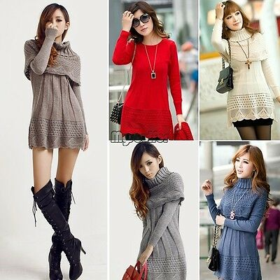 Hot Women Winter Long Sleeve Knitted Jumper Sweater Tops Pullover Dress Casual