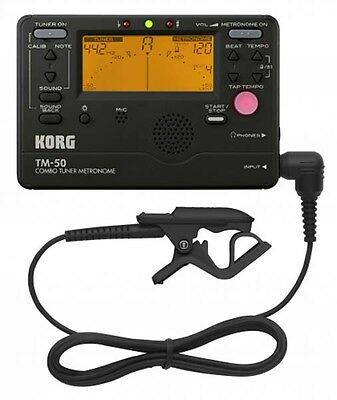 Korg TM50 Combo Digital Guitar Tuner Metronome with Contact Clip-On Microphon...