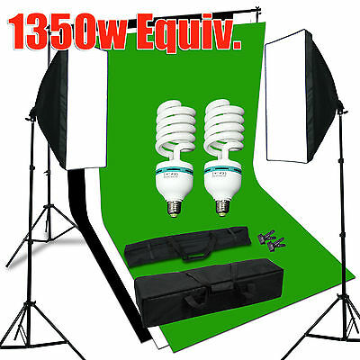 Studio Photography Continuous Softbox Lighting Kit with Black/White/Green Screen