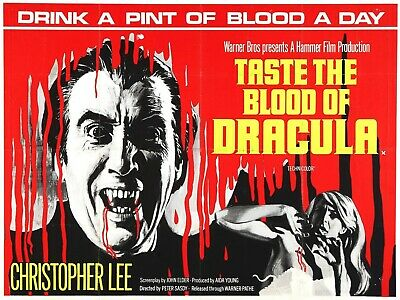 Taste The Blood of Dracula - Christopher Lee - Hammer - A4 Laminated Poster