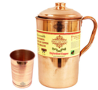 Pure Copper Jug Pitcher 1900 ML Capacity | 1 Free Copper Glass | For Good health