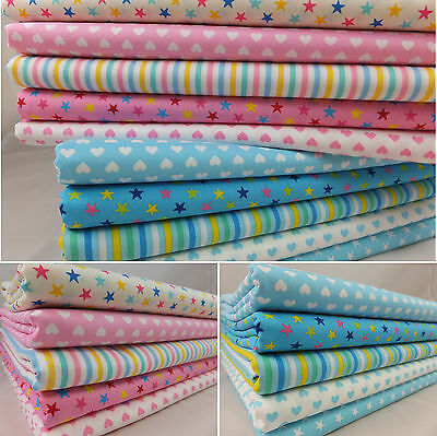 CT Candy Basics 100% Cotton Fabric Nursery Spots Polka Dots Stars Stripes Hearts