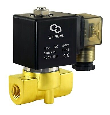 "1/4"" Inch Electric Air Gas Water Zero Pressure Operate Solenoid Valve NC 12V DC"