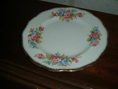 Colorful floral patterned Roslyn fine bone china 8 inch plate gold trim England