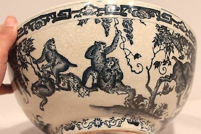 Unique Vintage Oriental Blue & White Porcelain  Round Bowl Monkey Design 10 ""