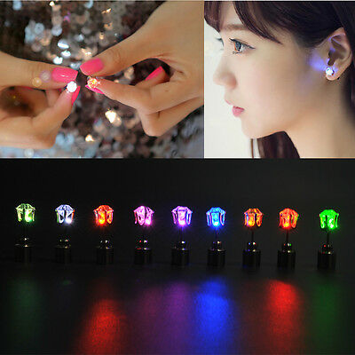 1 Pair LED Glowing Light Up Change Color Earrings Studs Dance Party Accessory