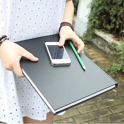 """Black Secret"" Big Sketchbook Blank Paper Diary Workbook Business Study Notebook"