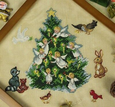 Pre-worked Needlepoint Petit Point Canvas -- Tree of Life Churbs Lovely Animals