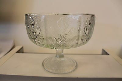 Vintage Footed/Pedestal Glass Candy Bowl F.T.D 1975, Oak leaves, clear frosted