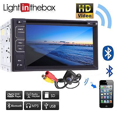 Camera+Double 2 Din l In Dash Stereo Car DVD Player Bluetooth Radio SWC SD/USB