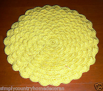 DOLIY or HOT PAD~Handcrocheted~Yellow~Flower Design~Double Thickness~Vintage