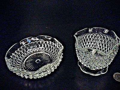 """Vintage Diamond Cut Pressed Glass Candy Dishes - 6"""" and 4"""""""
